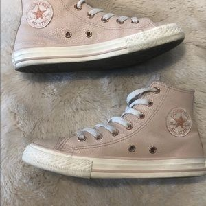 Leather blush high top converse sz 2 girls